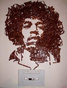 Retrato en cinta de casete de Jimi Hendrix