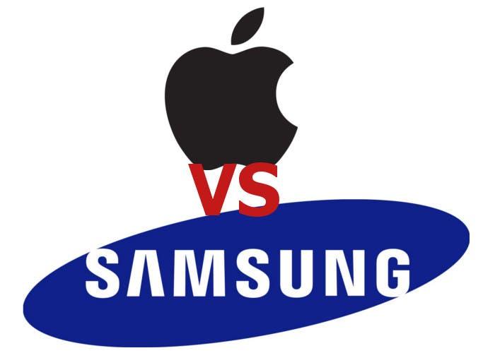 Montaje de los logotipos enfrentados de Apple y Samsung