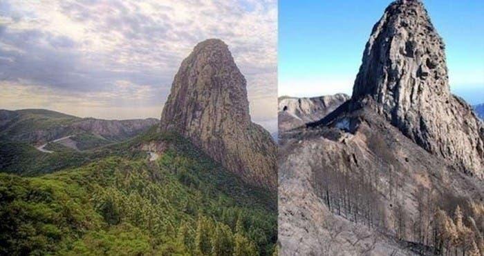 Comparativa del paso del fuego por el Roque Agando