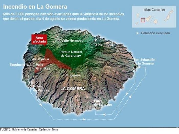 Zona afectada por Incendio La Gomera