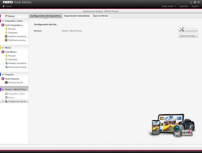 Nero Kwik Media interfaz Windows
