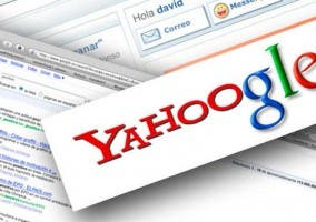 Logotipo de Yahoo unido al de Google