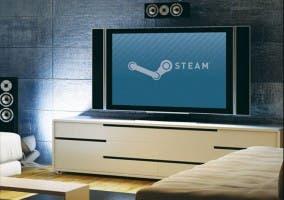 Imagen de un televisor con el logo de Steam, para promocionar Big Picture