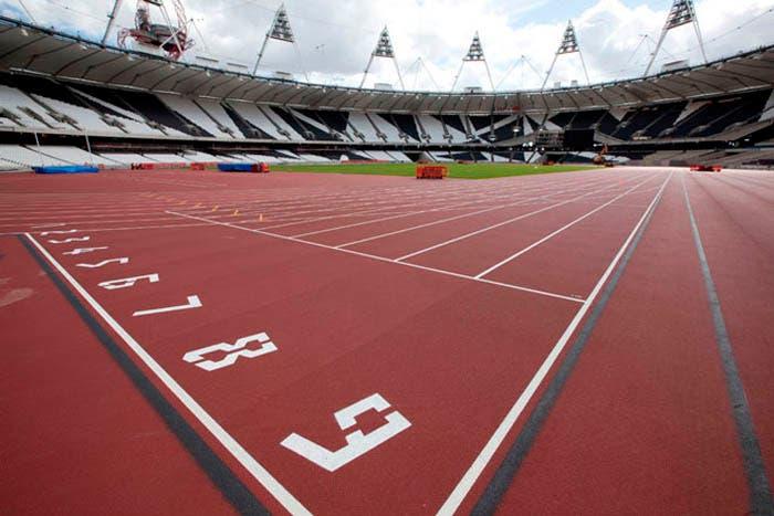 Números en las pistas de atletismo con la tipografía 2012 olimpic games
