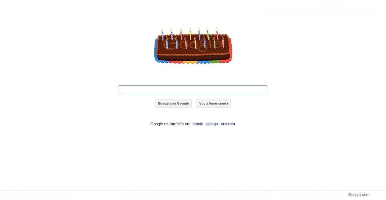 Doodle conmemorativo del aniversario de Google
