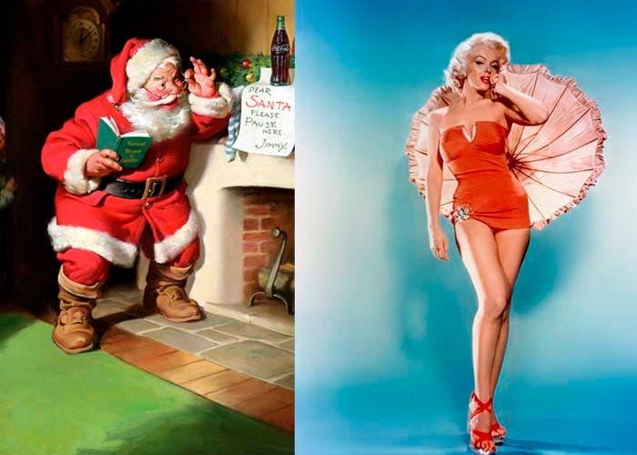 Ilustración de Santa Claus e imagen de Marilin Moroe de rojo