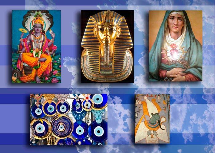 dioses y amuletos con azul