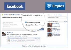 Ventana de compartir archivos en facebook desde dropbox