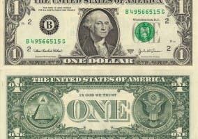 Anverso y reverso del billete de dólar americano