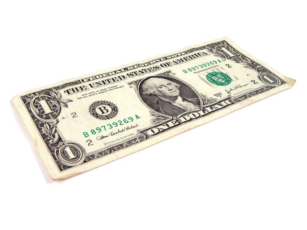 Anverso del billete de dólar americano