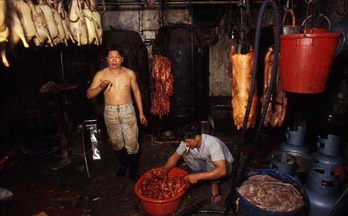 Venta de carne de perro en Kowloon