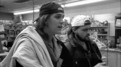 Jason Mewes y Kevin Smith actuando en Clerks