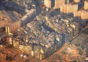 Panorámica aérea de la Antigua Ciudad Amurallada de Kowloon