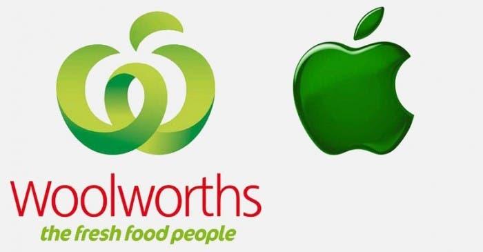 Comparativa del logotipo de Apple y el de Woolworths