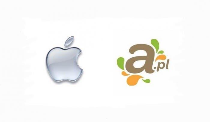 Comparativa del logotipo de Apple y el logotipo de A.pl