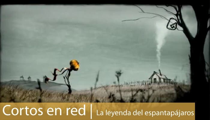 Imagen del corto La leyenda del espantapájaros y carátula de Cortos en red.