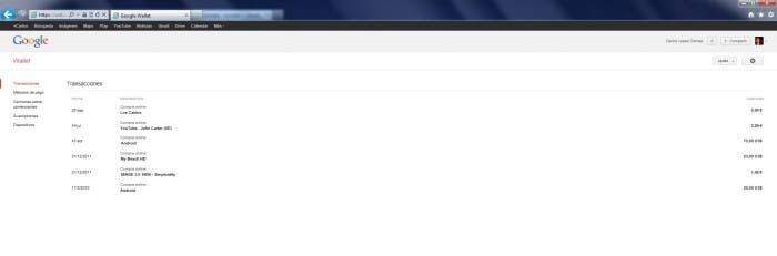 Google Wallet en la Web