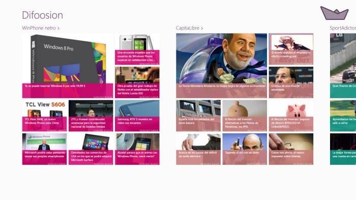 Ejemplo de aplicación de estilo Windows 8