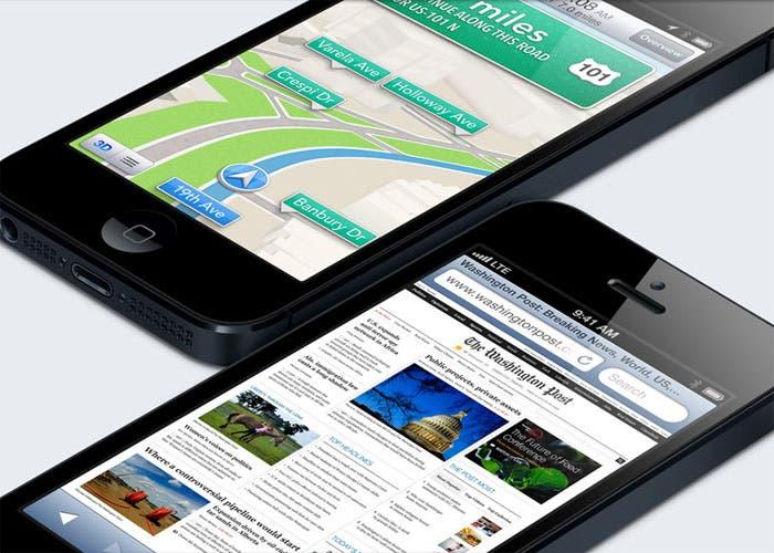 Imagen de dos smartphone iPhone 5 de Apple