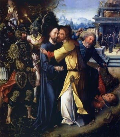 Pintura sobre el beso de Judas.