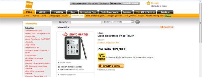 Captura de pantalla de la tienda on-line de Fnac con el Fnac touch
