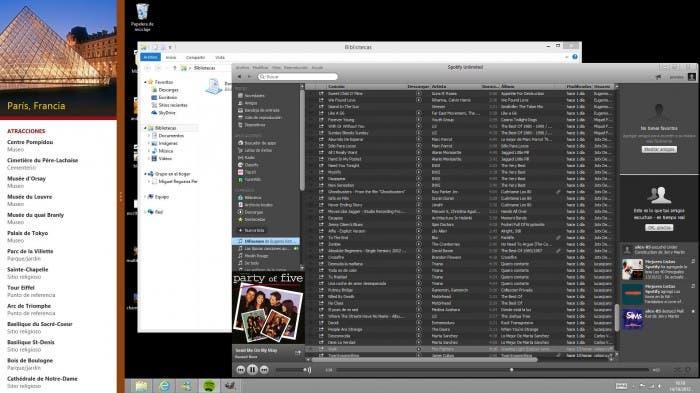 Ejemplo de la función Snap en Windows 8