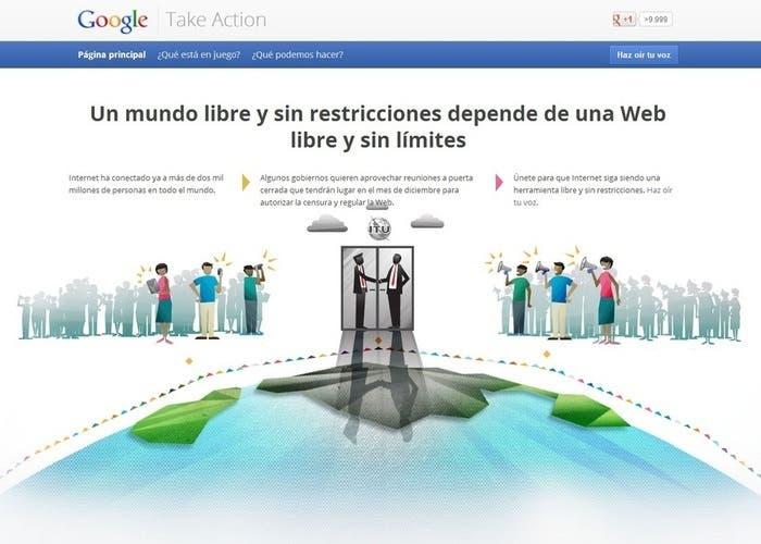 Captura de la web de Google Take Action