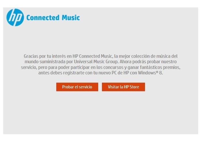 Mensaje de bienvenida de HP Connected Music