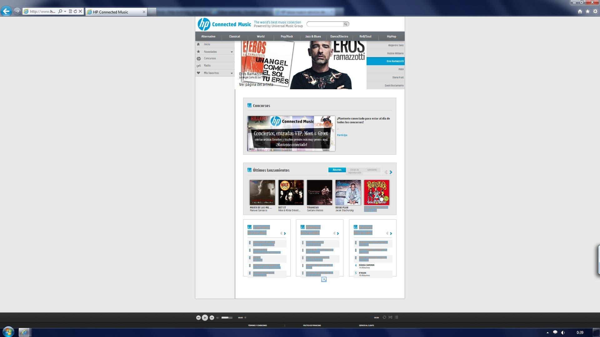 Web de HP Connected Music