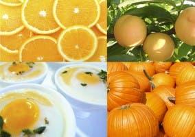 Varios alimentos de color naranja