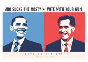 Cartel Gum Eletion 2012 con Obama y Rommey