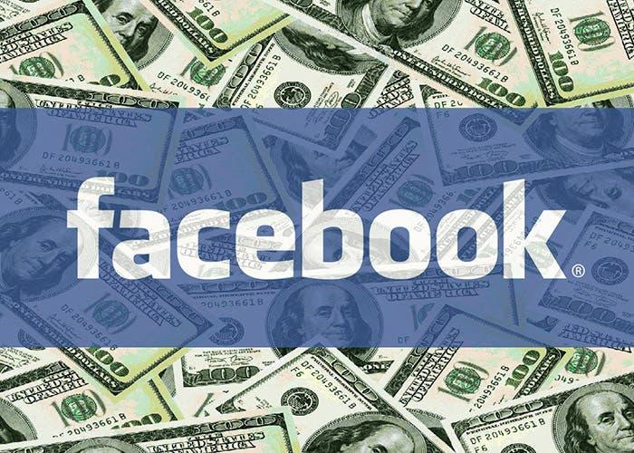 Logotipo Facebook sobre dinero