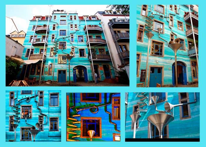 Fachada edifico de Kunsthofpassage en Dresden, Alemania