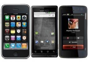 Imagen de un iPhone de Apple, un Nokia N900 y un Motorola Droid