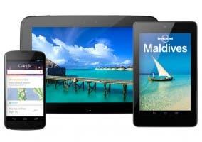 Imagen de un Nexus 4, un Nexus 7 y un Nexus 10 de Google