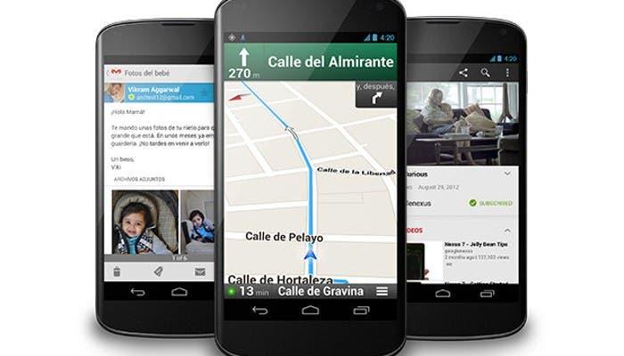 Imagen de tres smartphones Google Nexus 4