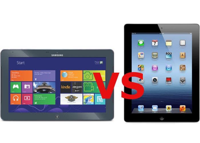 Imagen de un Samsung ATIV Tab frente a un iPad de Apple