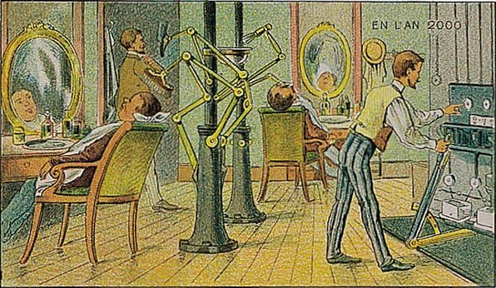 En 1900 así creían que serían las peluquerías del año 2000