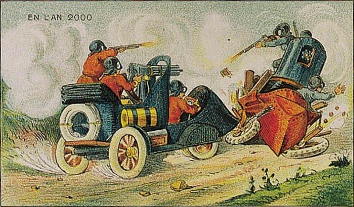 Así pensaban en 1900 que serían los vehículos para la guerra en el año 2000