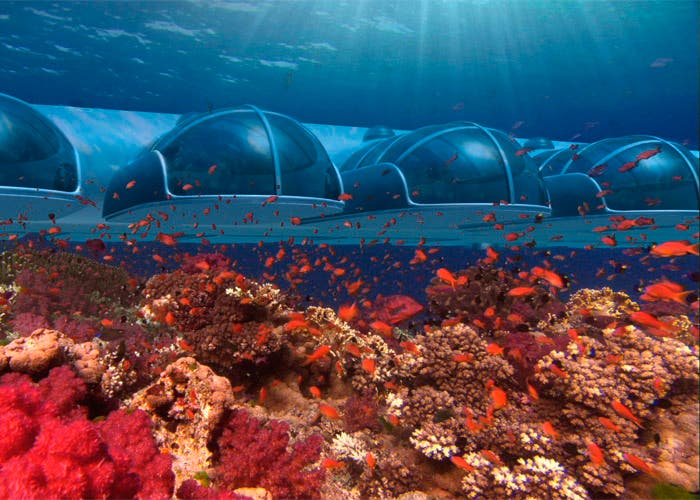 Infografía de Poseidon Resort bajo el mar