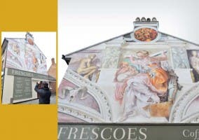 Mural imitando pintura de la Capilla Sixtina en cafetería