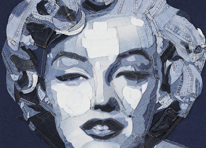 Retrato de Marilyn a base de tejido de vaquero