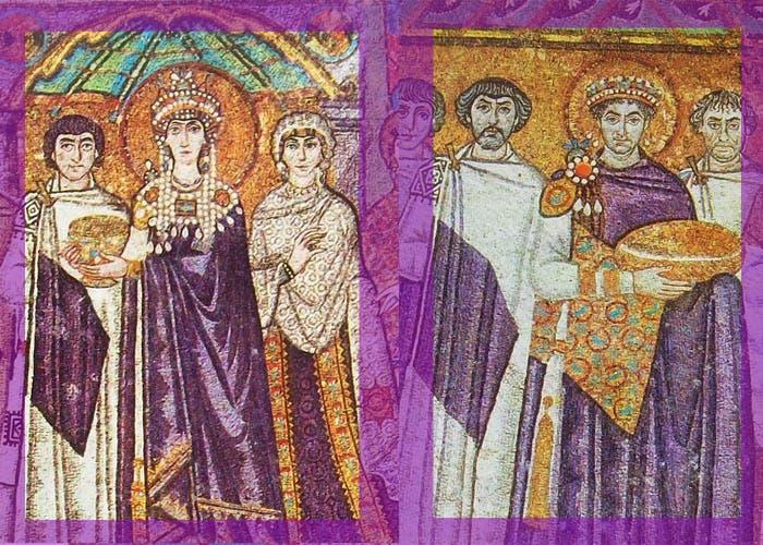 Mosaico de emperador y emperatriz romano