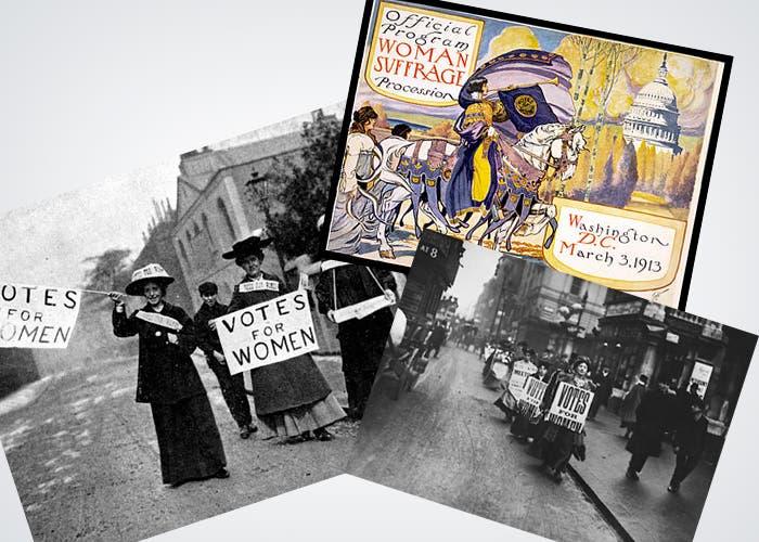 Sufragistas luchando por el voto de la mujer