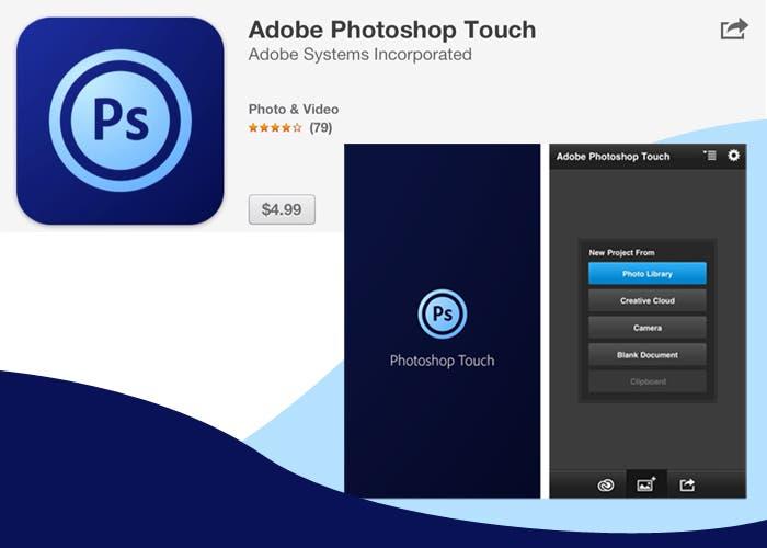 Logotipo y pantalla de Adobe Photoshop Touch