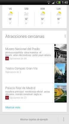 Google Now Atracciones Cercanas