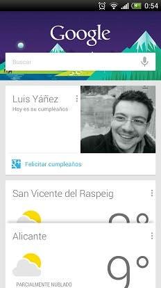 Google Now Feliz Cumpleaños