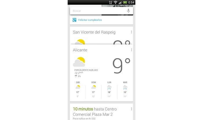 GoogleNow Prevision Meteorologica