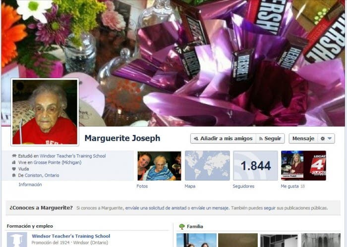 Perfil de Marguerite Joseph en Facebook