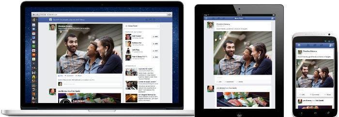 Nuevo diseño de Facebook en varios dispositivos